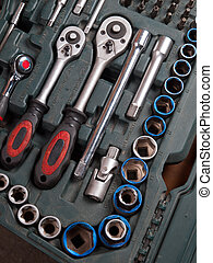 細節, 向上, 成套用具, 工具箱, 關閉, 工具