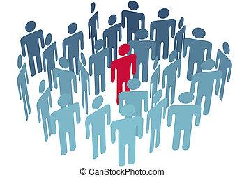 組, 中心, 圖, 人們, 公司, 鑰匙, 人