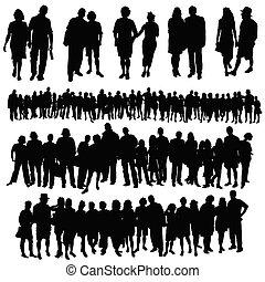 組, 人們, 大, 夫婦, 矢量, 黑色半面畫像