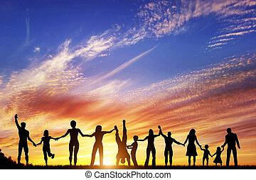 組, 人們, 家庭, 一起, 手, 多种多樣, 朋友, 隊, 愉快