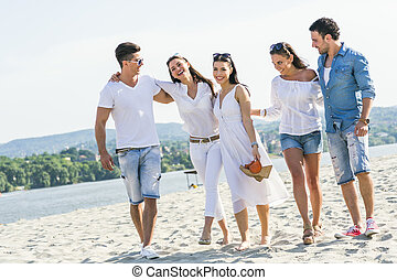 組, 人們, 年輕, 扣留手, 海灘