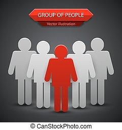 組, 人們, 插圖, 矢量, 背景, leader.