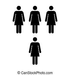 組, 人們, -, 矢量, 隊, 圖象, 婦女