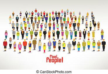 組, 人們, 聚集, 大, 矢量, 設計