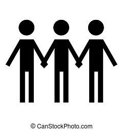 組, 人們, 藏品, 矢量, hands., icon.