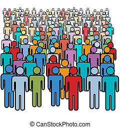 組, 人群, 人們, 大, 顏色, 社會, 很多
