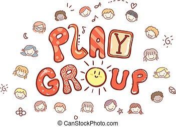 組, 孩子, stickman, 玩, 插圖