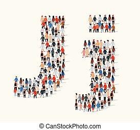 組, 形式, 人們, j, 大, 信