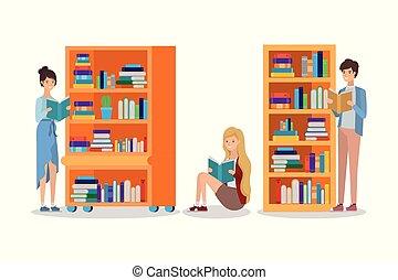 組, 書, 學生, 圖書館, 閱讀
