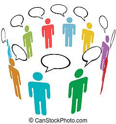 組, 网絡, 人們, 媒介, 符號, 顏色, 社會, 談話