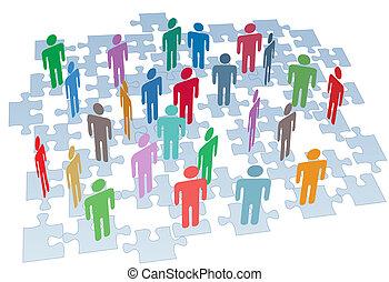 組, 网絡, 難題 片斷, 連接, 人力資源