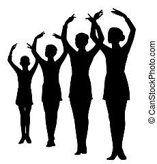 組, 行, 提高, 站立, 芭蕾舞女演員, 手