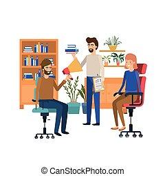 組, 辦公室人們, 工作, 背景, 白色