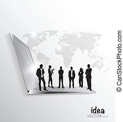 組, 辦公室, 事務, 膝上型, 現代, 矢量, 稀薄, 技術, 人們。, illustration.