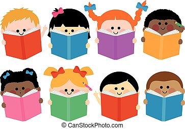 組, books., 插圖, 矢量, 閱讀, 孩子