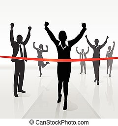 結束, 從事工商業的女性, 跑, 贏得, 橫過, 線
