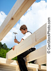 結构, 頂部, 屋頂, 木匠, 工作
