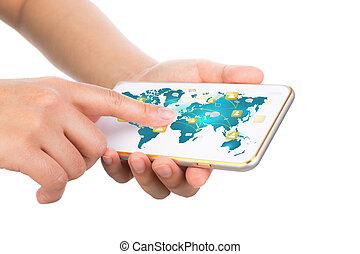 給予, 机動的交流, 現代, 手, 電話, t, 藏品, 技術