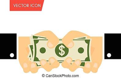 給, 捐贈, 資助, 插圖, 手, 現金。, 發薪日, 矢量, 現金, 商人, concepts., 收到, 賄賂