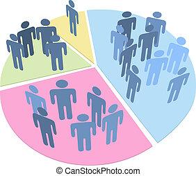統計數字, 人們, 餅形圖, 數据, 人口