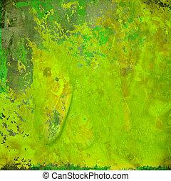 綠色的摘要, grunge, 鮮艷, 背景