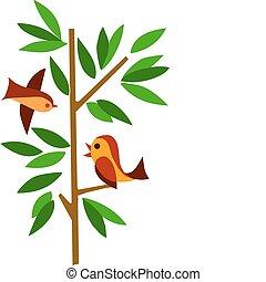綠色的樹, 兩只鳥