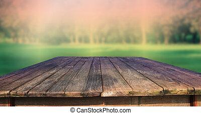 綠色, 木頭, 老, 結構, 桌子
