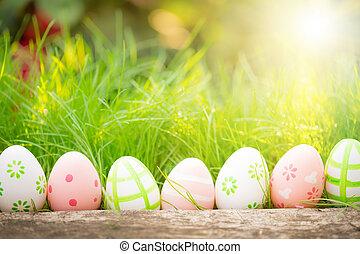 綠色, 蛋, 草, 復活節