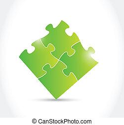 綠色, 難題, 設計, 插圖, 片斷