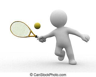 網球, 3d, 人們
