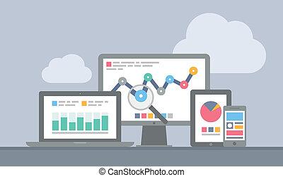 網站, 流動, 概念, analytics