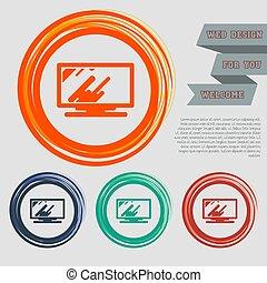 網站, 監控, 空間, text., 按鈕, 紅色, 矢量, 設計, 綠色, 橙, 電腦, 圖象, 你, 藍色