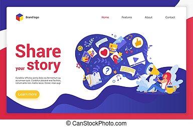 網站, 矢量, illustration., 故事, 著陸, 頁, 卡通, 你, 分享
