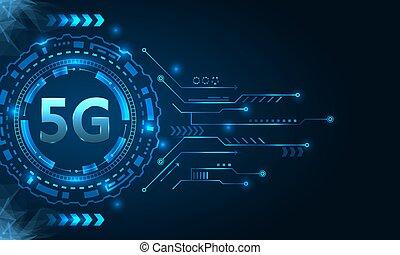 網際網路, wi-fi, 無線, 5g, 新, hud, 元素, 連接