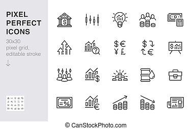 線, 投資者, 矢量, 金融, 30x30, 象素, illustration., 債券, 簽署, application., editable, 分析, 圖象, 股票, 收入, 最小, 經紀人, perfect., 市場, outline, set., 簡單, 打擊, 投資, 增加