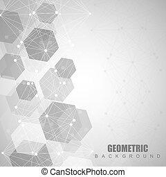 線, 概念, 幾何學, 科學, dots., communication., 摘要, 分子, 背景。, 醫學, 連線, 背景, 科學, illustration., design., 你, 結构, 技術