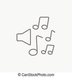 線, 注釋, 音樂, icon., 擴音器