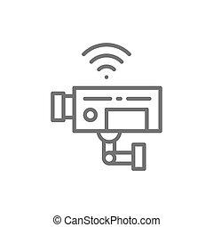線, 監視, 中國中央電視台照像機, icon., 安全