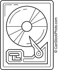 線, 盤, 艱難的驅車, icon.