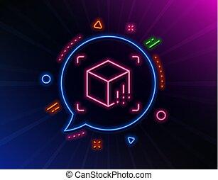 線, 矢量, 現實, augmented, 模擬, icon., vr, cube., 徵候。, 3d