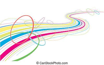 線, 鮮艷, 流動