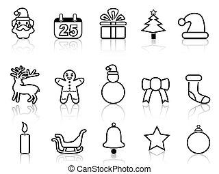線, 黑色, 聖誕節, 圖象