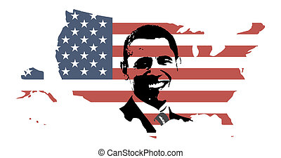 總統, obama, 美國, 地圖