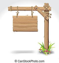 繩子, 懸挂, 木頭, 板, 簽署