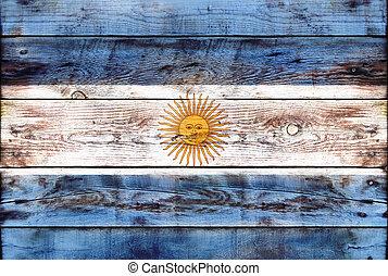 繪, 旗, 木頭, grungy, 阿根廷, 板條
