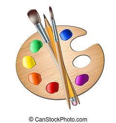 繪 調色板, 藝術刷子, 圖畫