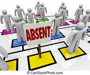 缺席, 晚, 緩慢, -, 圖表, 人, 組織, 或者