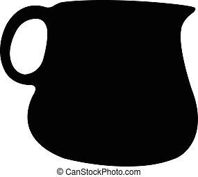 罐, 矢量, 黑色半面畫像