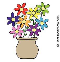 罐, 花, 鮮艷