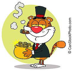 罐, 運載, 金, tiger, 富有